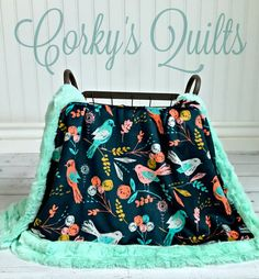 Minky Bird Baby Blanket Designer Minky Mint by CorkysQuilts