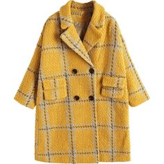 Checked Peacoat ($58) ❤ liked on Polyvore featuring outerwear, coats, jackets, pea jacket, yellow peacoat, peacoat coat, yellow pea coat and checked coat