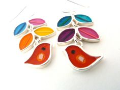 Bird vine earrings-multi color-resin inlay-warm colors-silver-mixed media. $175.00, via Etsy.