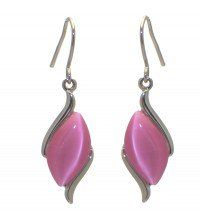 APHRODITE Silver Pink Hook Earrings by Rodney
