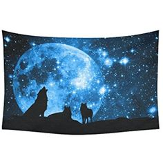InterestPrint Moon at Night Scene Wall Art Home Decor, Wolves against a Blue Starry Sky Blue Tapestry Wall Hanging Art Sets 80 X 60 Inches >>> You can find out more details at the link of the image. (This is an affiliate link) Space Tapestry, Moon Tapestry, Blue Tapestry, Hanging Art, Tapestry Wall Hanging, Wall Hangings, Wolf Moon, Wall Stickers Murals, Dorm Decorations