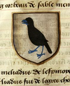 Escutcheon decorated with heraldry of Lot le Preux (argent, a raven sable, beaked and membered azure) | Noms, armes et blasons des chevaliers de la Table Ronde | France | ca. 1500 | The Morgan Library & Museum