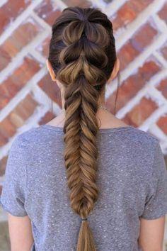 Pull through fish tail braid