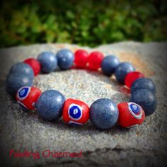 Denim Blue and Red Beaded Bracelet Coral Bead by FeelingCharmed, $20.00