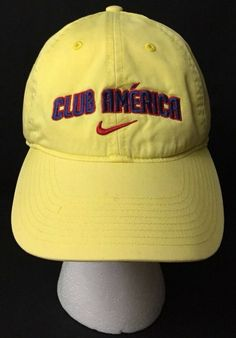 "b5da1fb2bde Details about NIKE Cap ""Club America"" Mexico Futbol Soccer ~ Yellow  Adjustable Embroidered Hat"