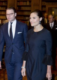 Queen Silvia, King Carl Gustaf and Prince Daniel and Crown Princess Victoria attends the Royal Swedish Academy of War Sciences' and the Royal Academy of Letters' seminar 'Sweden and 200 years of peace', the Bernadotte Library, Royal Palace of Stockholm, 10 November 2014