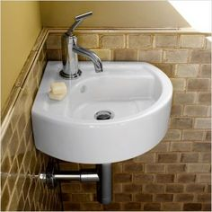 Found it at Wayfair - Solutions Small Corner Bathroom Sink Corner Sink Bathroom, Small Bathroom Sinks, Small Sink, Small Toilet, Bathroom Faucets, Corner Basin, White Bathroom, Bathroom Wall, Bathroom Ideas