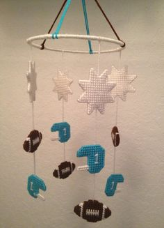 Football Theme Baby Mobile in Plastic Canvas via Etsy