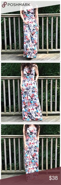 🆕 floral side pocket tube dress Floral side pockets long maxi tube dress PLEASE Use the Poshmark new option you can purchase and it will give you the option to pick the size you want ( all sizes are available) BUNDLE and save 10% ( no trades price is firm unless bundled) Dresses Maxi
