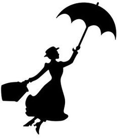 """Mary Poppins Silhouette 6"""" Black Car Truck Vinyl Decal Art Wall Sticker USA Classic Disney Movies Cute Awesome Fun Perfectly Perfect Adorable Vinyl Creations"""