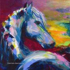 """6""""x6"""" """"Dreamer"""" Abstract Horse Art. Contemporary Acrylic Equine Painting.  www.karrenMgarces.com"""
