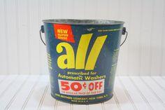 Vintage All  Detergent Bucket / Vintage Bucket / Industrial Etsy Vintage, Vintage Shops, Olive Harvest, Tall Basket, Olive Bucket, Vintage Laundry, Metal Baskets, Vintage Typography, Galvanized Metal