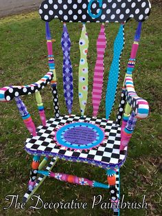 The Decorative Paintbrush, Designs by Mary Mollica Cathy's Corner childrenfurniture is part of Hand painted chairs - Whimsical Painted Furniture, Hand Painted Furniture, Funky Furniture, Paint Furniture, Furniture Decor, Decoupage Furniture, Furniture Design, Chair Design, Painted Rocking Chairs