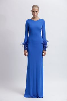 Badgely and Mischka! I really dont like blue but you cant help but love this dress with sleeve wrist detail.