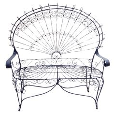View this item and discover similar for sale at - This intricate Victorian style wrought iron settee / love seat is known as the 'peacock' settee for its resemblance to feathers. The scrolling iron frames Wrought Iron Outdoor Furniture, Iron Patio Furniture, Garden Furniture, Wedding Furniture, Metal Furniture, Accent Furniture, Modern Furniture, Vintage Office Chair, Vintage Chairs