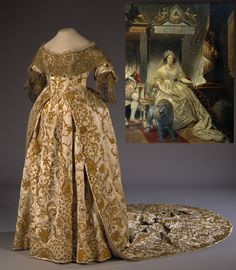 """Coronation dress worn by Queen Caroline Amalie of Denmark, 1840. Gold embroidered bodice of white satin with gold lace at the neck and sleeves; skirt is also of gold embroidered satin. Rosenborg Castle (http://www.kongernessamling.dk/rosenborg/object/kroningsdragt/). Inset photo: Detail of """"Christian VIII (1786-1848) and Queen Caroline Amalie (1796-1881) in Coronation Robes,"""" by Joseph Désiré Court, 1841. Statens Museum for Kunst…"""