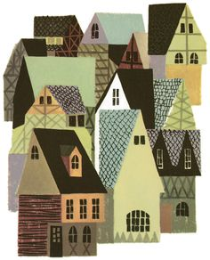 "These houses are done in a playful style. I like it. - - - Illustration from ""Dick Whittington and his Cat"", Wonder Books 1958"