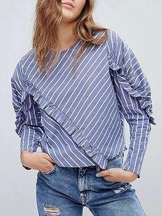 Shop Blue Stripe Ruffle Trim Long Sleeve Blouse from choies. Chiffon Maxi Dress, Chiffon Shirt, Chiffon Saree, Blouses For Women, Sweaters For Women, Office Dresses For Women, Cheap Maxi Dresses, Latest Fashion For Women, Fashion Women