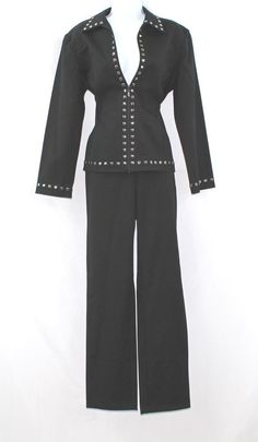 ST. JOHN SPORT BY MARIE GRAY METAL SQUARE TRIM BLACK COTTON BLEND PANT SUIT M #StJohn #PantSuit