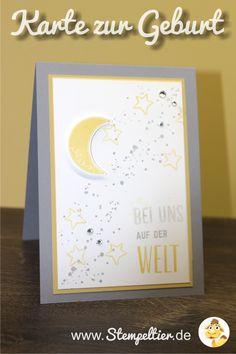 willkommen baby stampin up stempeltier Grußkarte zur Geburt mit Gorgeous Grunge in Schiefergrau und Safrangelb - Willkommen auf der Welt kleines Baby