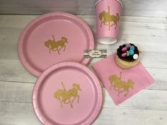 Girl Birthday Party Pack Carousel Horse Pink & Gold Glitter Plates, Cups, & Napkins - Custom Made To Any Theme, Lots Of Colors