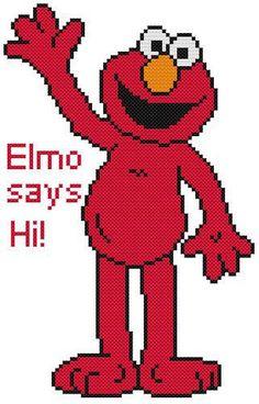 Cross Stitch Knit Crochet Plastic Canvas Waste Canvas Rug Hooking Pattern Elmo the Muppet from Sesame Street says Hi!  https://www.pinterest.com/resparkled/