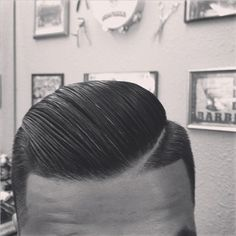 Combover with line going down the side.
