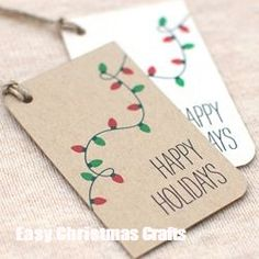 Christmas Gift Tags, Christmas Lights Handmade Happy Holiday Gift Tags – Set of 10 – White or Brown Recycled - Geschenke Ideen Diy Christmas Lights, Diy Christmas Cards, Christmas Gift Wrapping, Xmas Cards, Handmade Christmas, Christmas Crafts, Christmas Ideas, Green Christmas, Happy Holidays Cards
