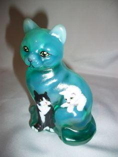 Fenton OOAK Green Opalescent cat - CC Hardman. Sold on Ebay for $420.00 on 3-15-2015. Artist: CC Hardman