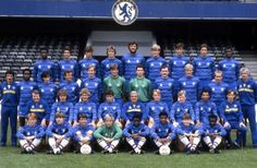 August 1983: The CHELSEA FC squad assembled by manager JOHN NEAL for the 1983-84 season, including among them NIGEL SPACKMAN, PAUL CANOVILLE, PAT NEVIN, goalkeeper EDDIE NIEDZWIECKI, KERRY DIXON and PETER BONETTI (at the far right on the middle row standing) as goalkeeping coach. Being at the time a Second Division team, by the end of the campaign, CHELSEA were promoted back to the top tier as Champions...