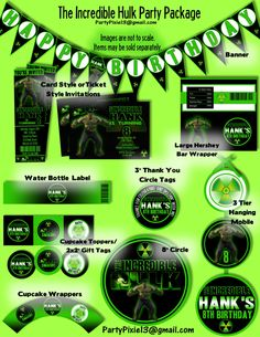 Incredible Hulk Avengers Party Decoration Package and Invitations - Printable and Customized with your party details. Digital Files. by PartyPixiePrintables on Etsy https://www.etsy.com/listing/160646329/incredible-hulk-avengers-party