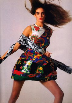 Wayne Maser for American Vogue, January 1988. Clothing by Gianni Versace.