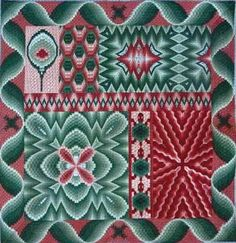 "Experience Bargello in this fun design which includes Flame, Four-Way, Ray and Six-Sided.  Design size is 16"" x 16""."