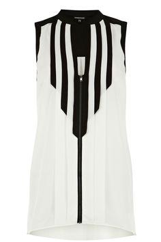 warehouse colour block zip blouse