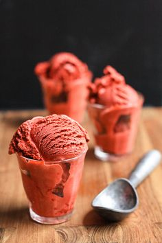 This Red Velvet Ice Cream takes all the personality of a red velvet cake and rockets it into summer. Velvety, tangy with plenty of cocoa kick.