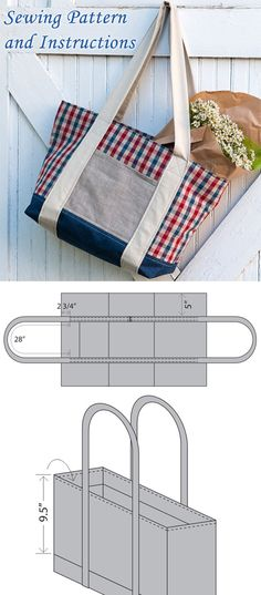 Farmers Market Tote Bag Tutorial ~ #bags #tutorial #sewing
