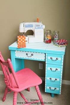 Scallops & Stripes Sewing Table Makeover with Shape Tape™ - The Crafting Chicks Sewing Desk, Diy Sewing Table, Sewing Spaces, Sewing Rooms, Furniture Makeover, Diy Furniture, Sewing Room Design, Home Crafts, Painted Furniture
