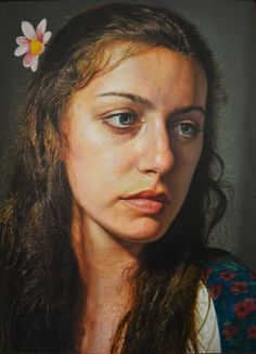 """Emily"" - David Rivera, oil on wood {contemporary figurative realism art female head woman face portrait painting #loveart} dcrartcommissions.com"