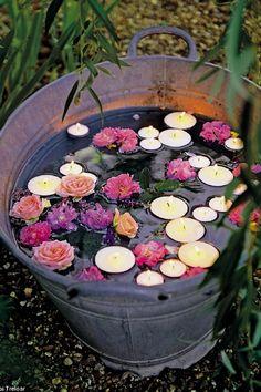 Floating candles and flowers: Summer Garden Wedding Decor Idea Boho Wedding, Rustic Wedding, Wedding Flowers, Dream Wedding, Wedding Reception, Wedding Simple, Trendy Wedding, Reception Ideas, Wedding Venues