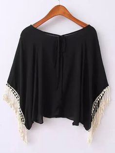 Tassels Batwing Sleeve Lace-Up Black Comfortable T Shirt on buytrends.com
