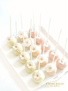 Pastel Pink, Peach and White Flowers Cake Pops Cherie Kelly London