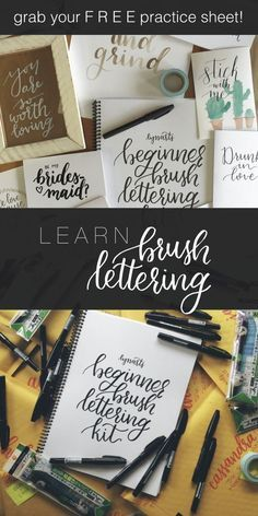 Learn brush lettering from Lyssarts, but first grab your free practice sheet! The Beginner Brush Lettering Kit is a great tutorial for those interested in hand lettering.