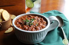 This hearty vegan 3-bean chili is packed with pinto, black, and Great Northern beans. It's spiced with cumin and ancho chili powder. It's vegan & gluten-free.