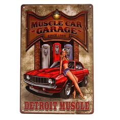 Hot Rod Garage, Vintage Metal Sign featuring Pin Up beauty!