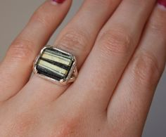 Chunky Rutilated Quartz Sterling Silver Ring by JPMJewellery, $140.00