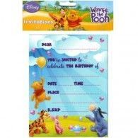 Winnie The Pooh Invitations (8pk) $8.50 A068172 Wholesale Party Supplies, Printed Balloons, Tarpaulin, 5th Birthday, Layout Design, Winnie The Pooh, First Birthdays, Invitations, Desktop