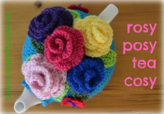 Rosy Posy Crochet tea cosy free pattern- saving this mostly for the rose pattern Crochet Tea Cosy Free Pattern, Tea Cosy Pattern, Crochet Cozy, Crochet Geek, Crochet Crafts, Knitting Patterns Free, Crochet Patterns, Crochet House, Free Crochet