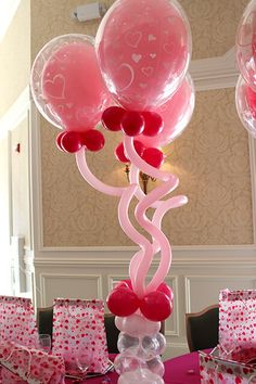 Balloon centerpieces come in a variety of different styles and can transform a room instantly. Some of the styles include simple but elegant balloon bouquets, balloons inside balloons, and our favorite balloons. Balloon Inside Balloon, Bubble Balloons, Heart Balloons, Bar Mitzvah Party, Bat Mitzvah, Pink Party Decorations, Balloon Centerpieces, Balloon Bouquet, Pink Parties