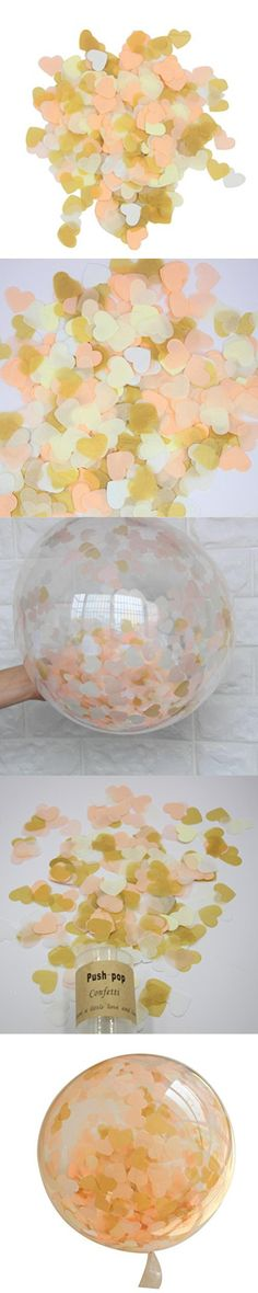 Mybbshower 1 Inch Wedding Throwing Confetti Peach and Gold Hearts Balloon Filler Pack of 5000 Pcs