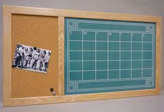 "Framed ""Chalkboard"" Calendar Dry Erase Board & Cork Bulletin Board Command Center - Large Custom Wall Organizer White Board Family Planner"